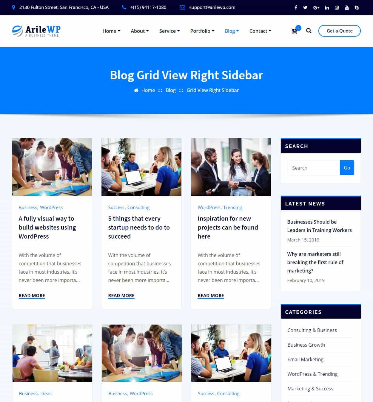 Blog Grid View Right Sidebar