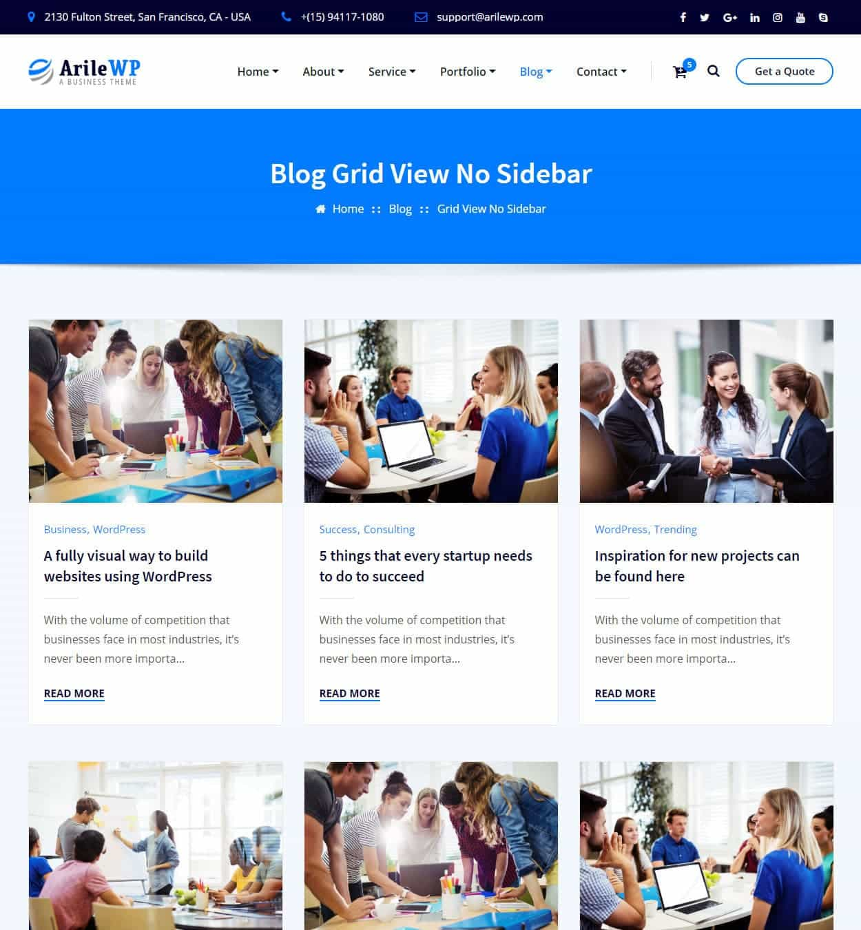 Blog Grid View No/Sidebar
