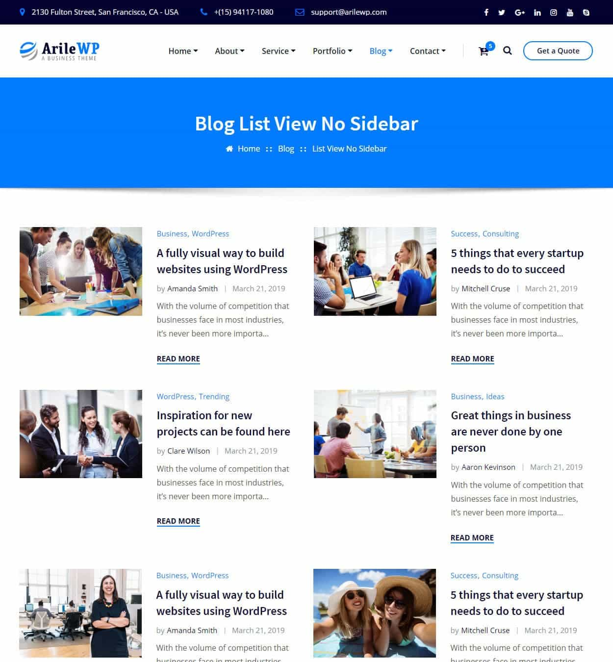 Blog List View No/Sidebar