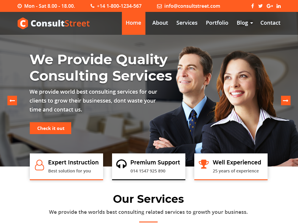 ConsultStreet – A Business Consulting Multipurpose WordPress Theme